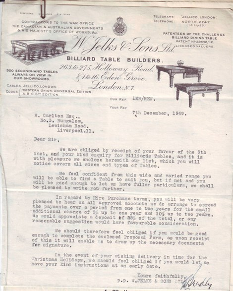 W.Jelks & Sons 1949 letter