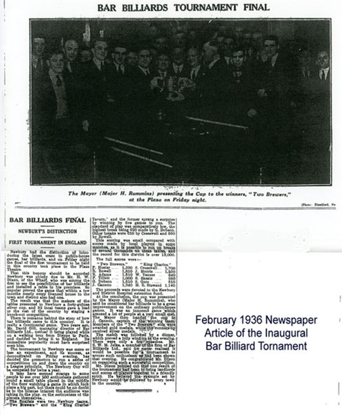 1936 Newspaper report bar Billairds match