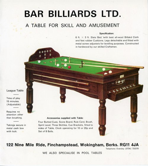Bar Billiards Ltd. advert