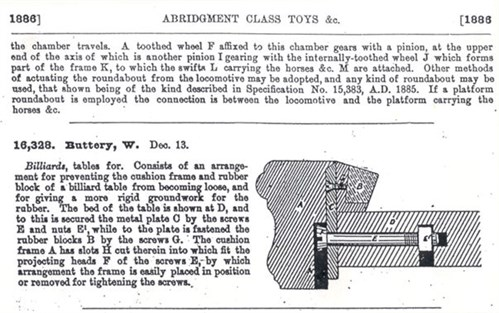 1886 Steel Block Billiard Cushion Patent