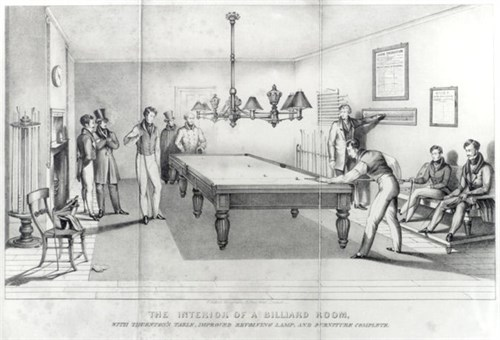 Thurston Billiard Match Room with oil lamps