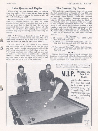 MIP Billird Table 1930