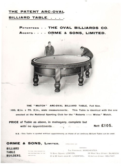 Orme & Sons round billiard table