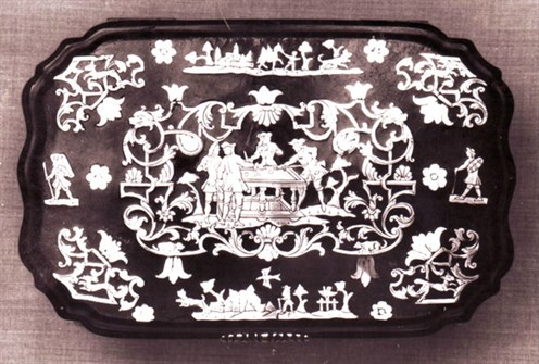 Casket with Billiard players