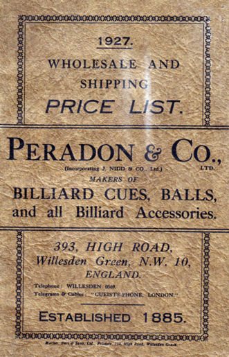 Peradon 7 Nidd Billiard Cue Catalogue