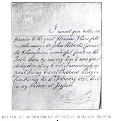 Letter of appointment of John Roberts