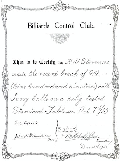 H W Stevenson Certificate from Billiards Control Club