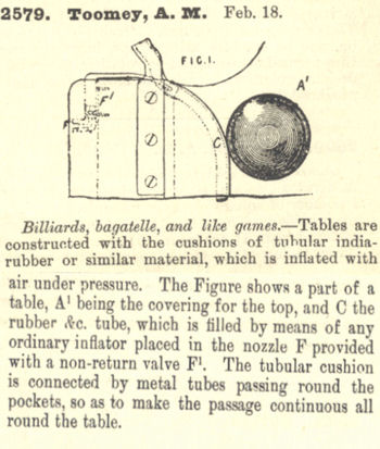 Pneumatic Billiard Cushion patent by A.M. Toomey