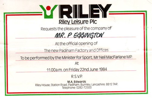 Riley Leisure Plc opening new factory