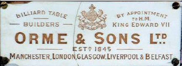 Billiard Table plate Orme & Sons Ltd.